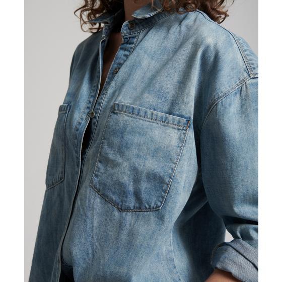 Oneteaspoon blue blossom priscilla split denim shirt 22036-5