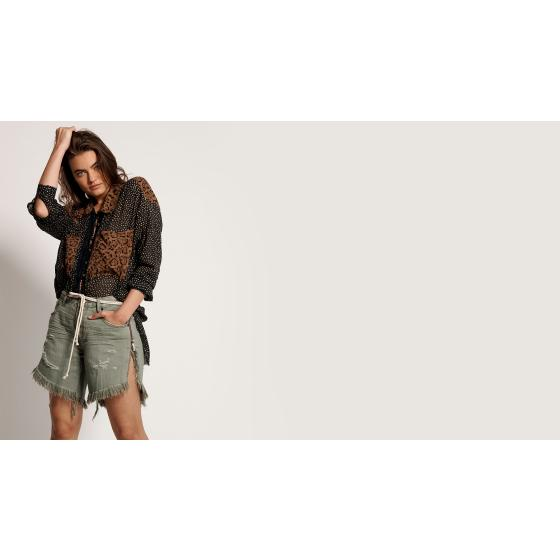 Oneteaspoon super khaki frankies long length denim shorts 22994-4