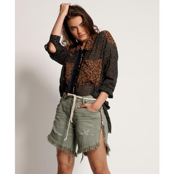 Oneteaspoon super khaki frankies long length denim shorts 22994-0