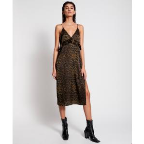 ONETEASPOON KHAKI LEOPARD LONG SLIP DRESS 23617