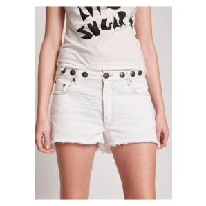 ONETEASPOON WHITE BEAUTY STUDDED WAIST LE WOLVES MID LENGTH DENIM SHORT 23787