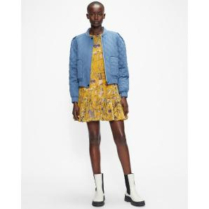 TED BAKER ABIGAYL Quilted bomber with exaggerated shoulder