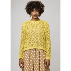 COMPANIA FANTASTICA YELLOW OPEN STITCH JUMPER SP19CHU19
