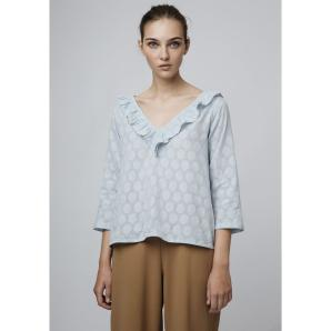 COMPANIA FANTASTICA BLUE JACQUARD TOP SP19SAM111