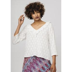 COMPANIA FANTASTICA WHITE JACQUARD TOP SP19SAM83