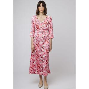 COMPANIA FANTASTICA LONG JAPANESE FLORAL DRESS SP19BOM03
