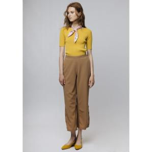 COMPANIA FANTASTICA BROWN STRAIGHT-LEG TROUSERS SP19HAN26