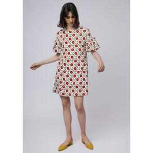 COMPANIA FANTASTICA RED FLOWER DRESS SP19HAN41