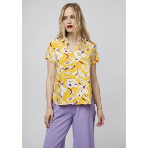COMPANIA FANTASTICA YELLOW SHIRT WITH WHITE FLOWERS