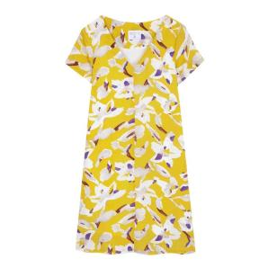Compania fantastica yellow dress with white flowers SS19HAN98