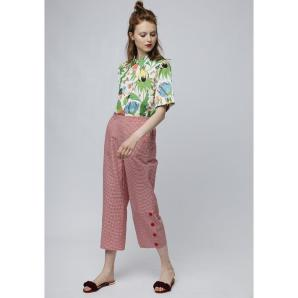 COMPANIA FANTASTICA RED GINGHAM TROUSERS SS19HAN48