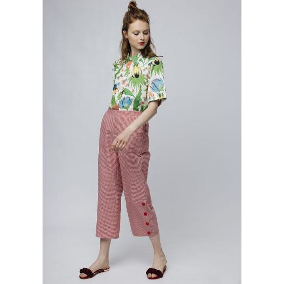d929b95637ee8e COMPANIA FANTASTICA RED GINGHAM TROUSERS SS19HAN48-0