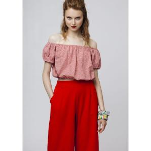 COMPANIA FANTASTICA RED GINGHAM CROP TOP SS19HAN49