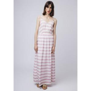 COMPANIA FANTASTICA LONG PINK STRIPED DRESS SS19SAM19