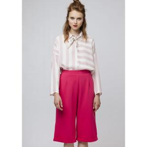 COMPANIA FANTASTICA PINK CULOTTE TROUSERS WITH TURNOVER HEM SS19HAN108