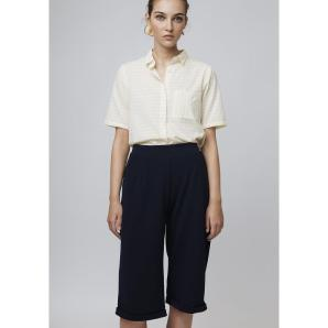 COMPANIA FANTASTICA BLUE CULOTTE TROUSERS WITH TURNOVER HEM SS19HAN109