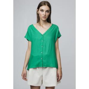 COMPANIA FANTASTICA GREEN V-NECK SHIRT SS19SAM37