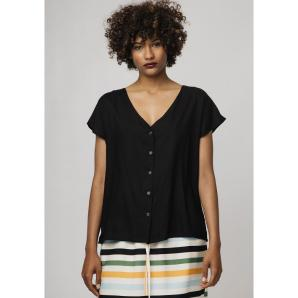 COMPANIA FANTASTICA BLACK V-NECK SHIRT SS19SAM76