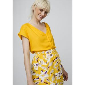 COMPANIA FANTASTICA YELLOW V-NECK SHIRT SS19SAM77