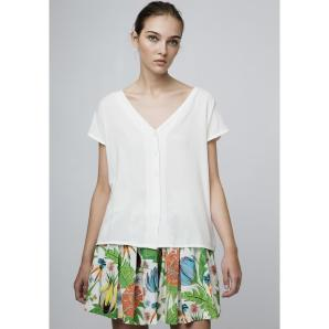 COMPANIA FANTASTICA WHITE V-NECK SHIRT SS19SAM78