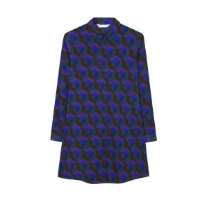COMPANIA FANTASTICA PURPLE GEOMETRIC PRINT SHIRT DRESS FA19HAN75