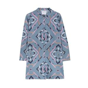COMPANIA FANTASTICA BLUE WIDE-LEG CHAIN SHIRT DRESS FA19COC02