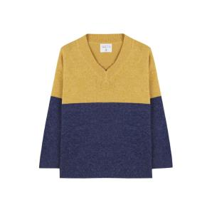 Compania fantastica wide blue and mustard jumper FA19CHU26