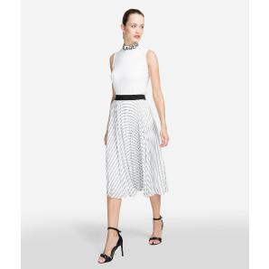 KARL LAGERFELD PLEATED LOGO MIDI SKIRT 91KW1208