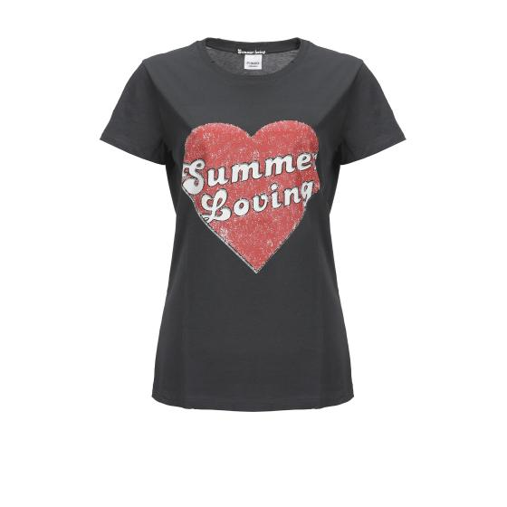PINKO SUMMER LOVING COTTON JERSEY T-SHIRT 3U10J8 Y2TM-5