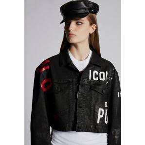 DSQUARED Icon Leatherett Maxi Denim Jacket