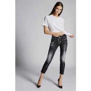 DSQUARED2 Black Runway Straight Cropped Jeans S72LB0172