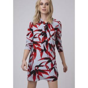 Compania fantastica shift dress in red leaf print FA18HAN05