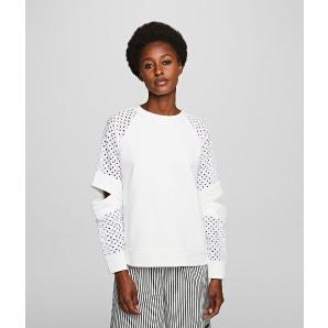 Karl Lagerfeld cut out lace sleeve sweatshirt 201W1818