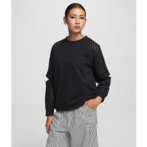 Karl Lagerfeld cut out lace sleeve sweatshirt 201W1818