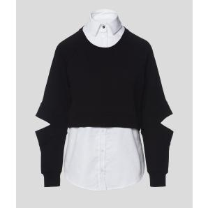 KARL LAGERFELD Double Layer Poplin Shirt And Sweatshirt 206W1809