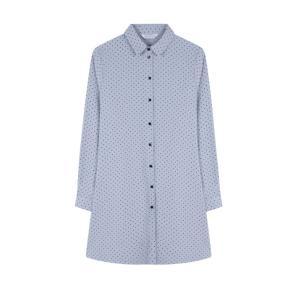 COMPANIA FANTASTICA BLUE POLKA-DOT SHIRT DRESS WI19HAN171