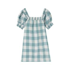 Compania Fantastica green check babydoll dress SS20PIC43