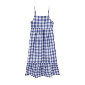 Compania Fantastica blue check maxi dress SS20PIC25