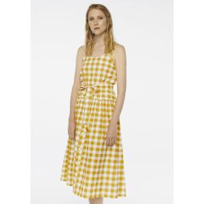 Compania Fantastica yellow check midi dress SS20PIC11