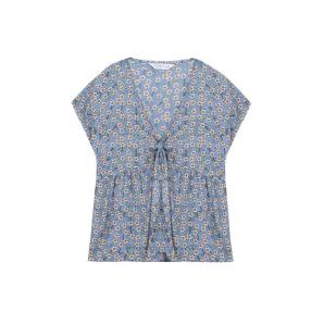 Compania Fantastica blue floral top with bow SS20SAM24