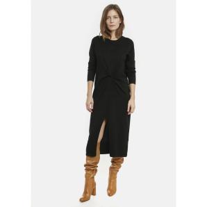 COMPANIA FANTASTICA black knit dress with knot FA20DEJ01