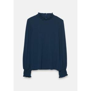 COMPANIA FANTASTICA blue smocked polo neck top WI20HAN114
