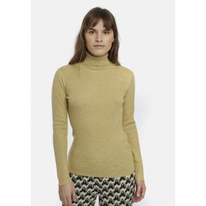 COMPANIA FANTASTICA BEIGE FITTED RIBBED KNIT JUMPER