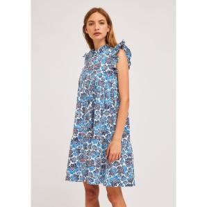 COMPANIA FANTASTICA SHORT BLUE FLOWER PRINT BABYDOLL DRESS SP21PIC02
