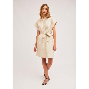 COMPANIA FANTASTICA BEIGE SHIRT DRESS WITH SEAMLESS CAP SLEEVES SP21HAN49