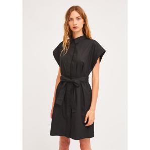 COMPANIA FANTASTICA BLACK SHIRT DRESS WITH SEAMLESS CAP SLEEVES SP21HAN27