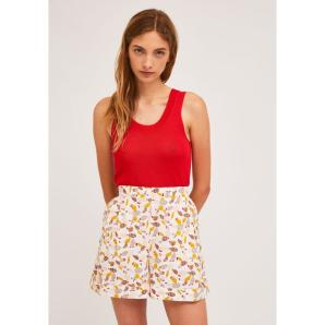 COMPANIA FANTASTICA PLEATED SHORTS WITH TURN-UPS AND CACTUS PRINT SS21PIC13
