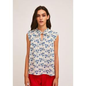 COMPANIA FANTASTICA TOP WITH PLEATS AND RUFFLES WITH HEN PRINT SS21SHE46