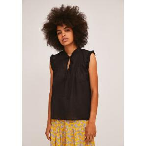 COMPANIA FANTASTICA BLACK COTTON TOP WITH PLEATS AND RUFFLES SS21SHE30