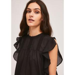 COMPANIA FANTASTICA BLACK EMBROIDERED COTTON TOP WITH RUFFLES SS21SHE55
